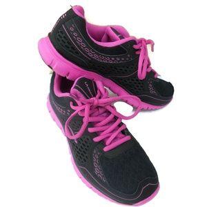 LA Gear Womens Sneakers Sz 7 Black Pink Athletic